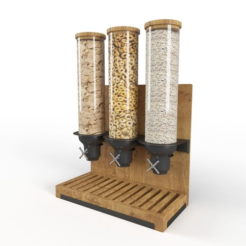 triple canister cereal despencer 3d model low-poly max fbx mat 1