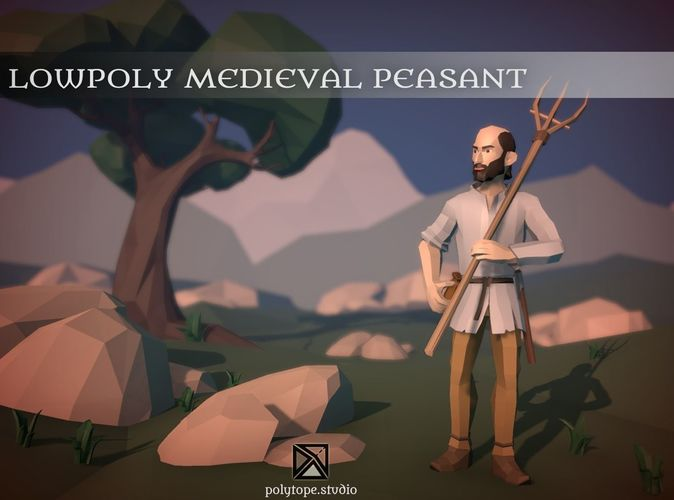 lowpoly medieval world - lowpoly medieval peasant 3d model low-poly rigged fbx tga 1