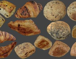 3D model Bread Buns and Pastrys - Low Poly -
