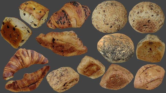 bread buns and pastrys - low poly - photogrammetry 3d model low-poly max obj mtl 3ds fbx dae tga 1