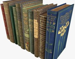 3D asset Old Books Type 5 Low Poly