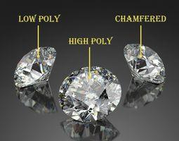 3D asset Round Diamond Brilliant Faceting Ideal Cut