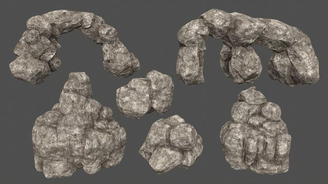 rocks set 3d model low-poly obj mtl fbx blend 1