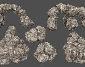 3D model VR / AR ready rocks set