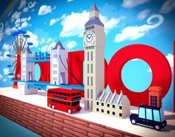 3D model game-ready Low-Poly london