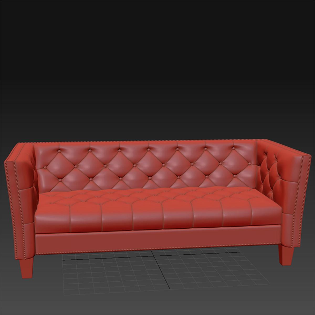 3D model Sofa No 4 - Preston Gray Bi-Cast Leather Sofa
