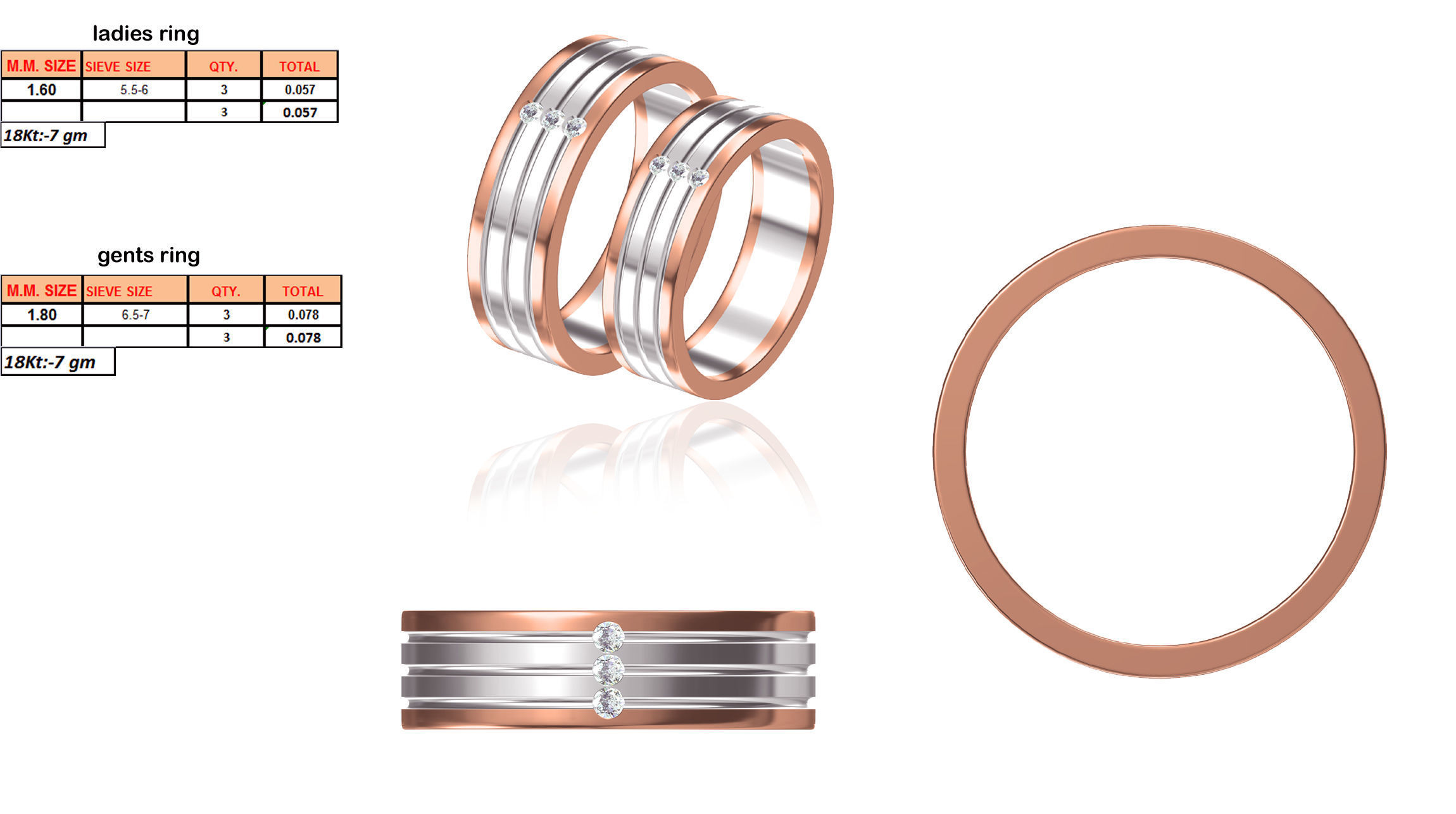 a8ce0235fa Rose Gold Couple Ring 1 3D model 3D printable STL JCAD JCD