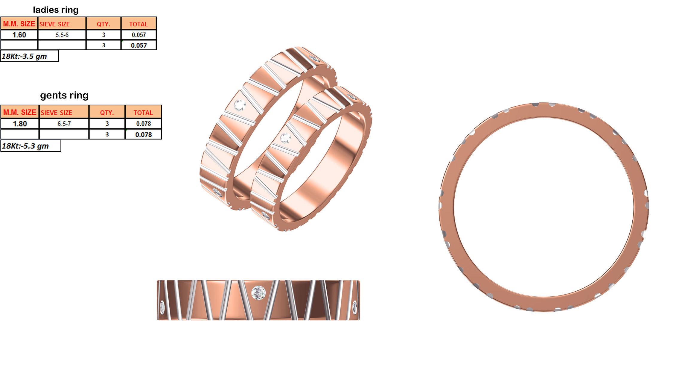 3173c392b7 Rose Gold Couple Ring With Diamond 1 3D model 3D printable STL JCAD JCD