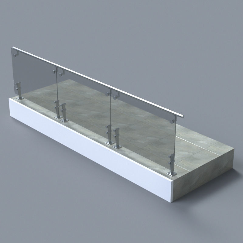 Glass handrail with Short Baluster staircase