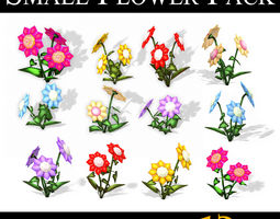 3D asset Small Flower Pack - LOW POLY