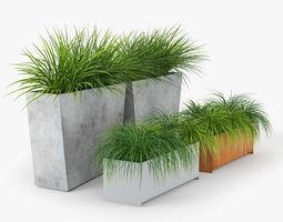 3D Twista Contemporary Modern Outdoor Planter Pot grass