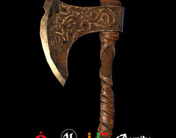 3D model Game Ready Viking Axe D180212