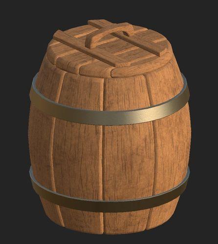 cartoon wooden barrel 1 3d model obj mtl fbx 1
