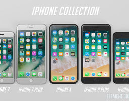 game-ready Apple iPhones Collection - Element 3D and