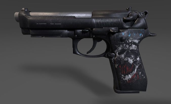 m9 handgun - custom skull 3d model low-poly obj mtl 3ds fbx tga 1