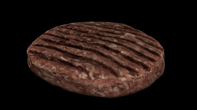raw hamburger 3d model low-poly obj mtl 3ds fbx 1