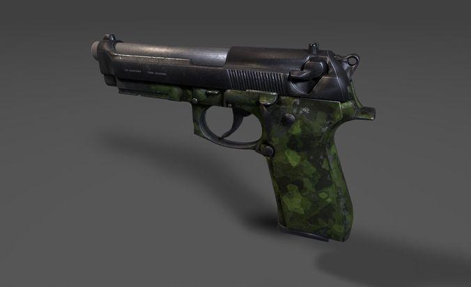 m9 handgun - camo 3d model low-poly obj mtl 3ds fbx tga 1
