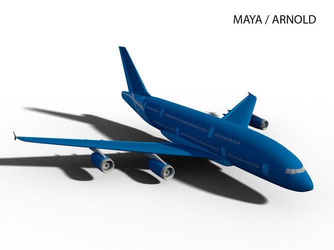 airbus a380-800  3d model low-poly max obj mtl 3ds fbx c4d ma mb 1