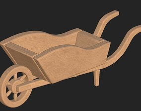 Cartoon wooden cart 3D asset