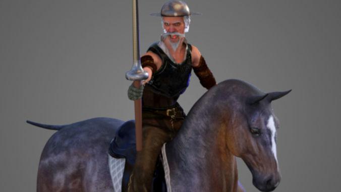 don quijote de la mancha 3d model rigged animated obj mtl fbx c4d 1