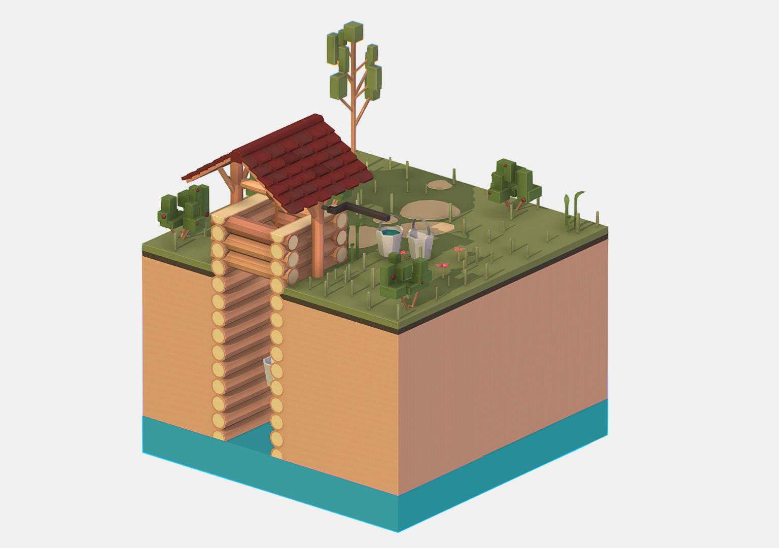 Isometric European Village Well Draw-Well
