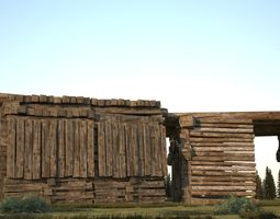 Ancient simple wooden shelf 3D model low-poly