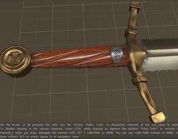 3D asset Medieval sword game ready
