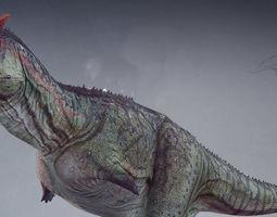 animated Carnotaurus Dinosaur VR AR low-poly 3D model
