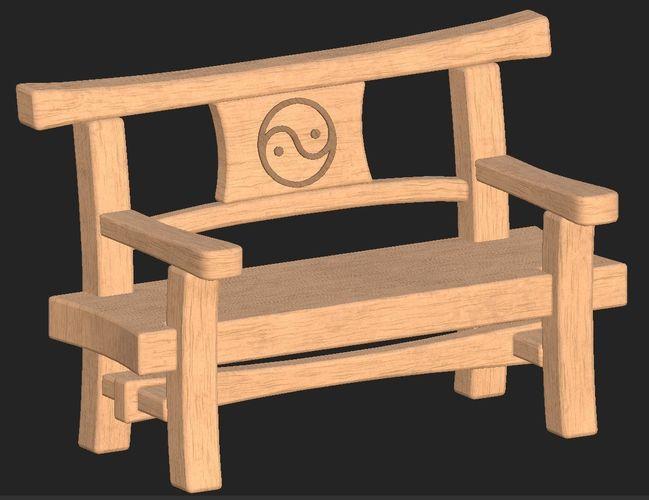 cartoon wooden bench 10 3d model obj mtl fbx 1