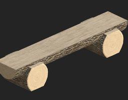 3d model cartoon wooden bench 6