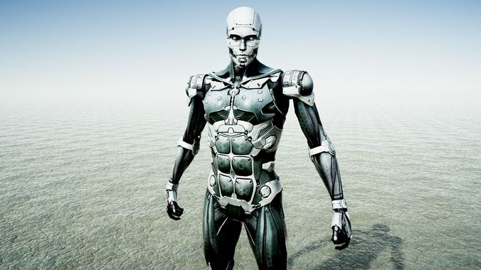 humanoid cyborg 3d model low-poly rigged animated obj mtl fbx blend unitypackage prefab 1