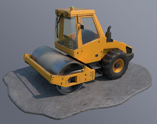 road roller 3d model obj mtl 3ds fbx blend dae 1