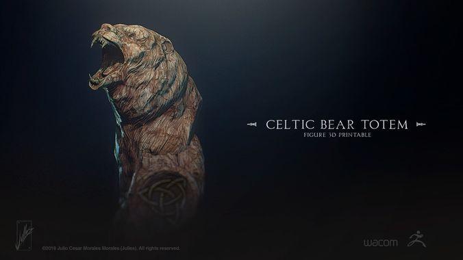 celtic bear totem 3d model stl 1