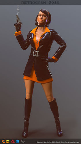 female 60s spy 3d model fbx unitypackage prefab 1