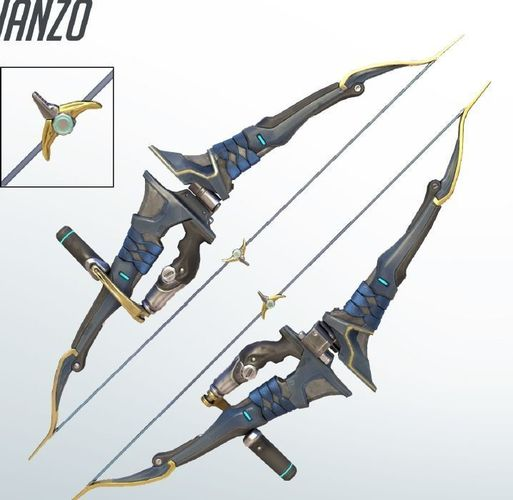 classic hanzo bow 3d printing files cosplay 3d model stl 1