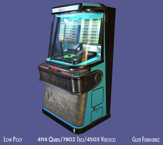 antique vintage retro music jukebox or rockola 3d model obj mtl fbx ma mb unitypackage prefab 1