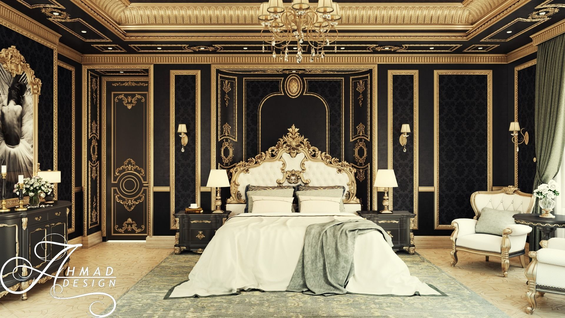 Royal Black and Gold Interior Master Bedroom | 3D model