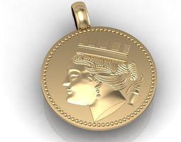 3D virgo of chersonesos coin pendant