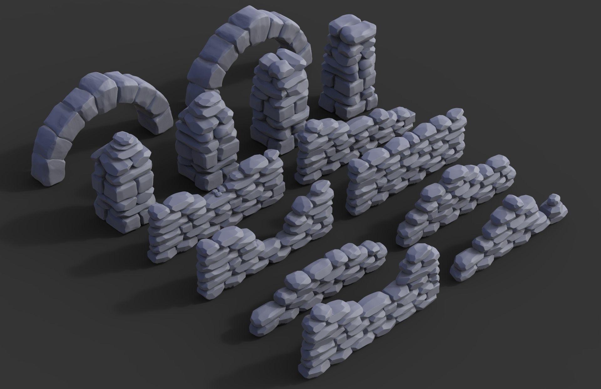 Stone walls and pillars for wargaming