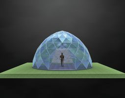 3D model Dome steel structure glass panels large entry