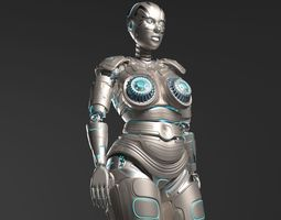3D model LADY ROBOT CURVY RIGGED