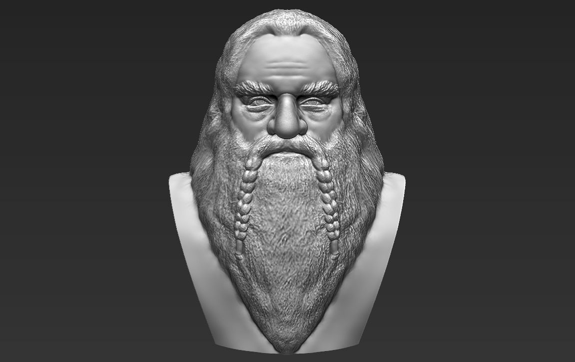 Gimli Lord of the Rings bust 3D printing ready stl obj formats
