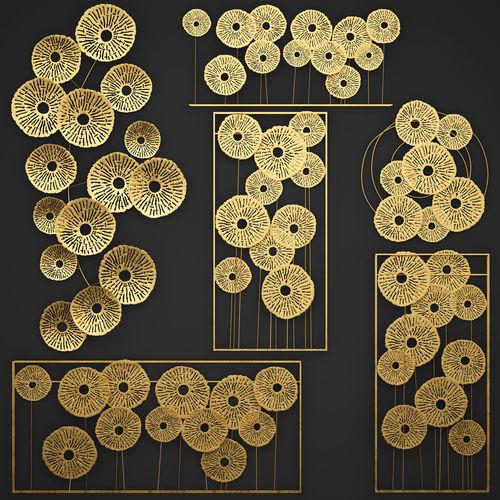 Gold Wall art Sculpture 3D model MAX OBJ MTL FBX