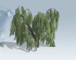 weeping willow tree set 3d model VR / AR ready