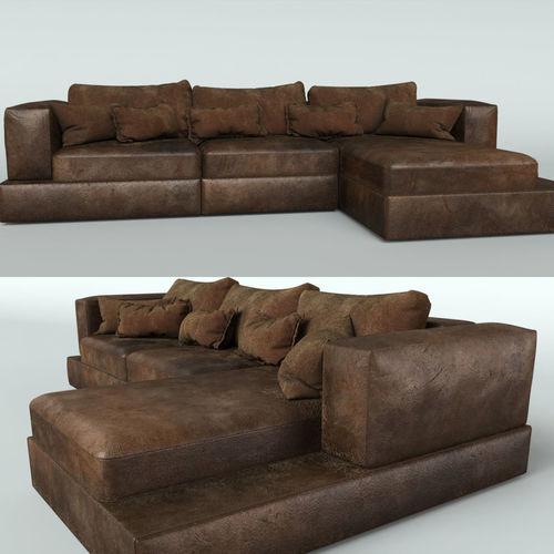 Leather Sofa Model Max Obj Mtl Mat 1