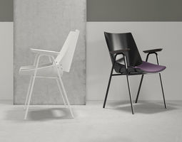 shell armchair with seat cushion 3d model
