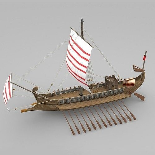 roman galley 3d model low-poly max obj 3ds fbx ma mb mtl 1