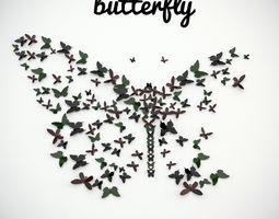3D model panel butterfly