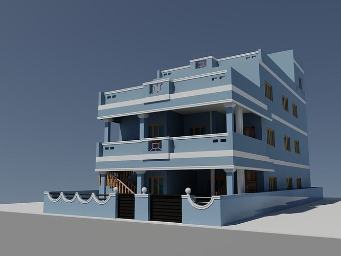 3d duplex house autocad cgtrader for Duplex house elevation models