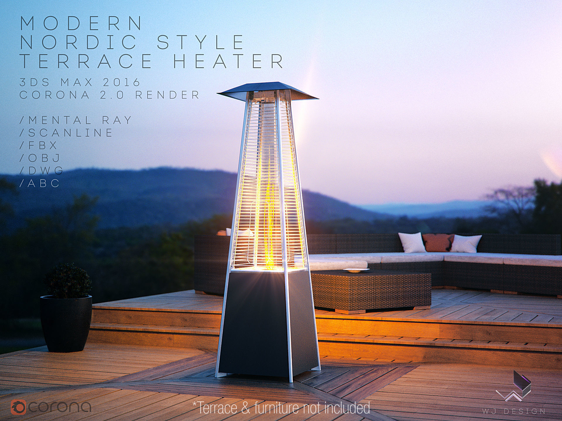 Modern Nordic Style Terrace Tower Heater